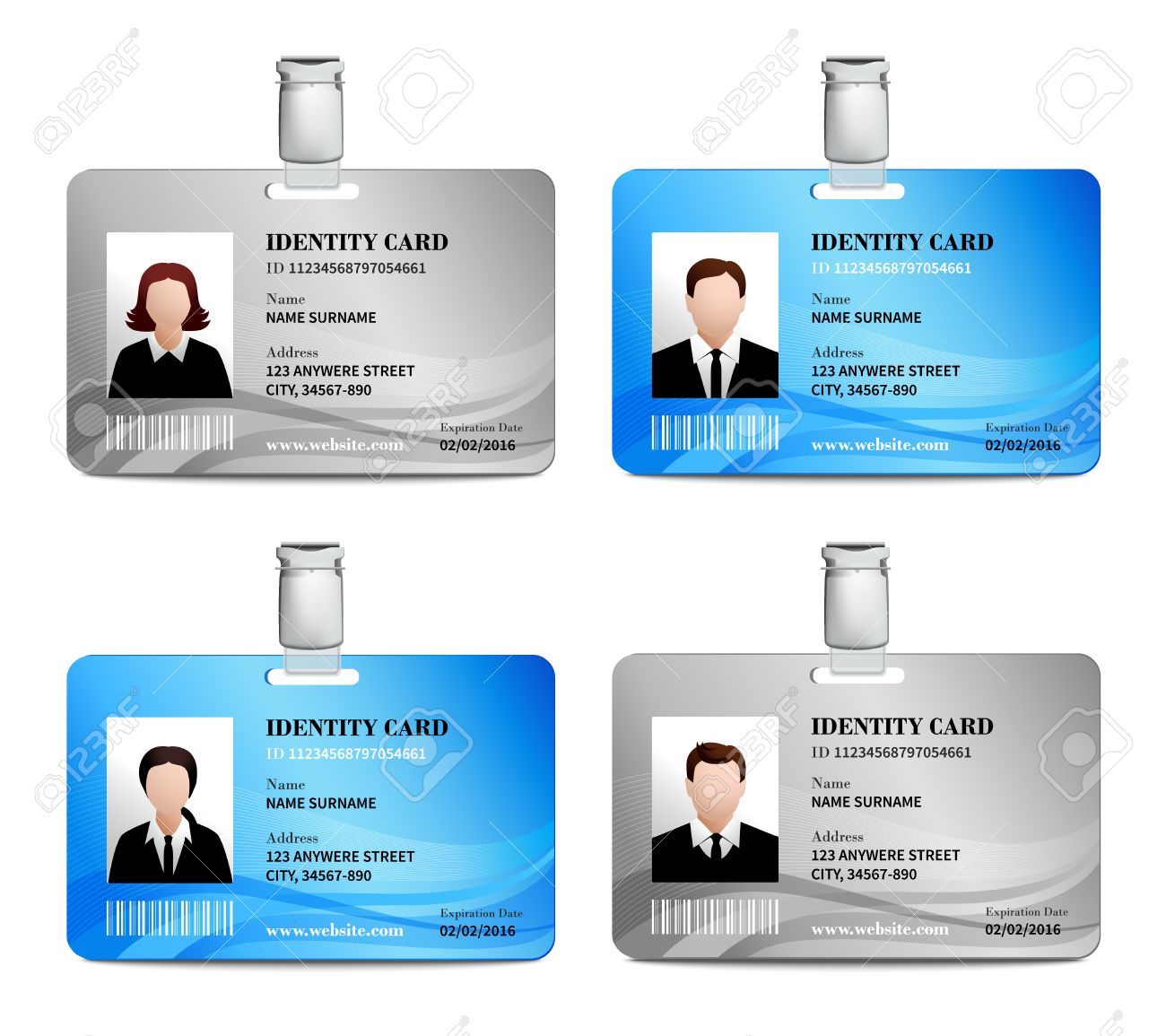 User Id Card Realistic Set With Male And Female Photo Templates ...
