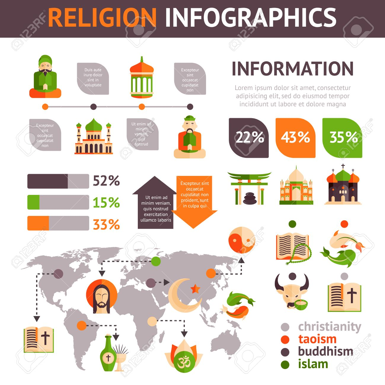 Religion Infographics Set With Religious Symbols Charts And World