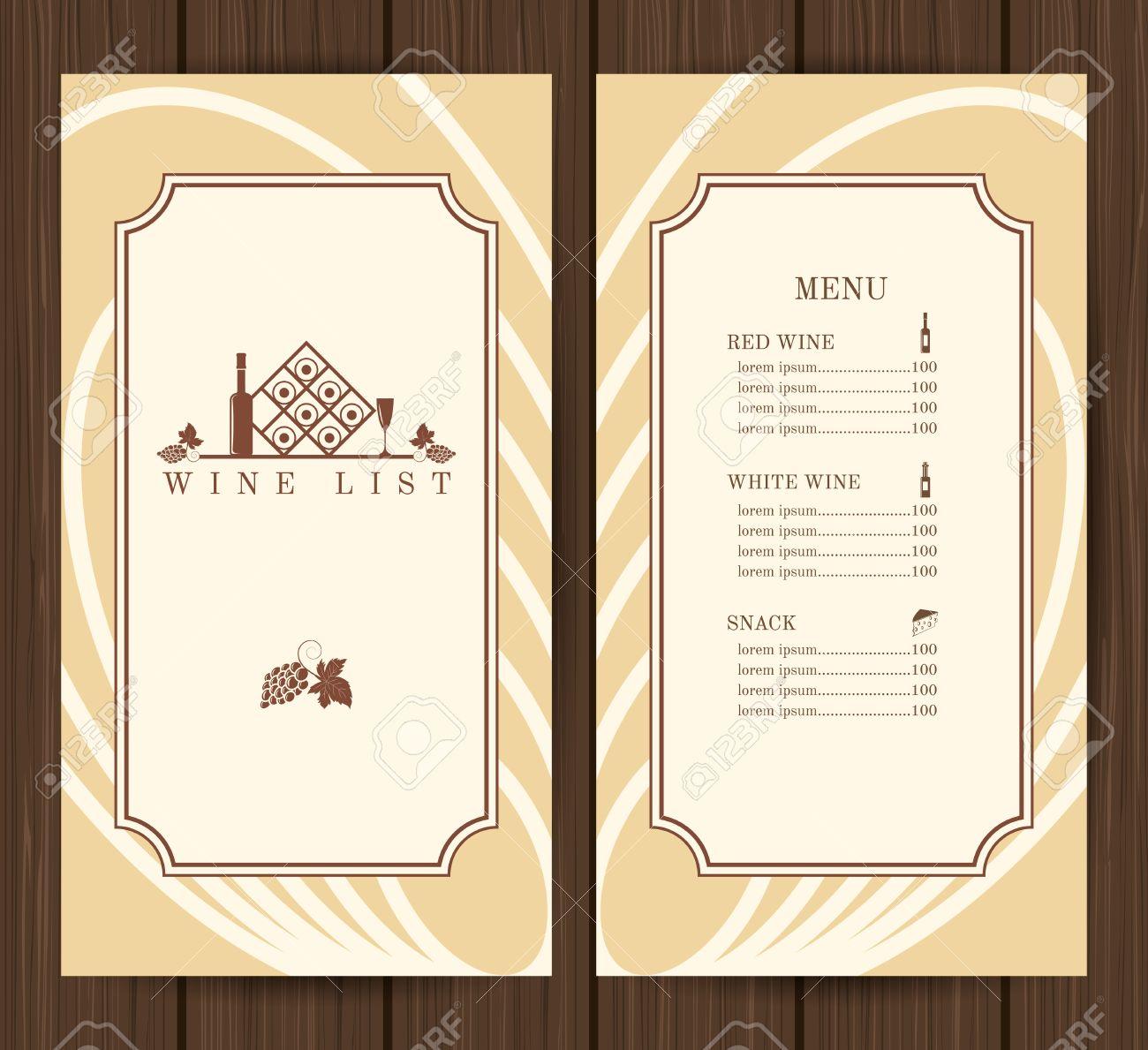 Wine List Restaurant Menu Template On Wooden Background Vector – Free Wine List Template