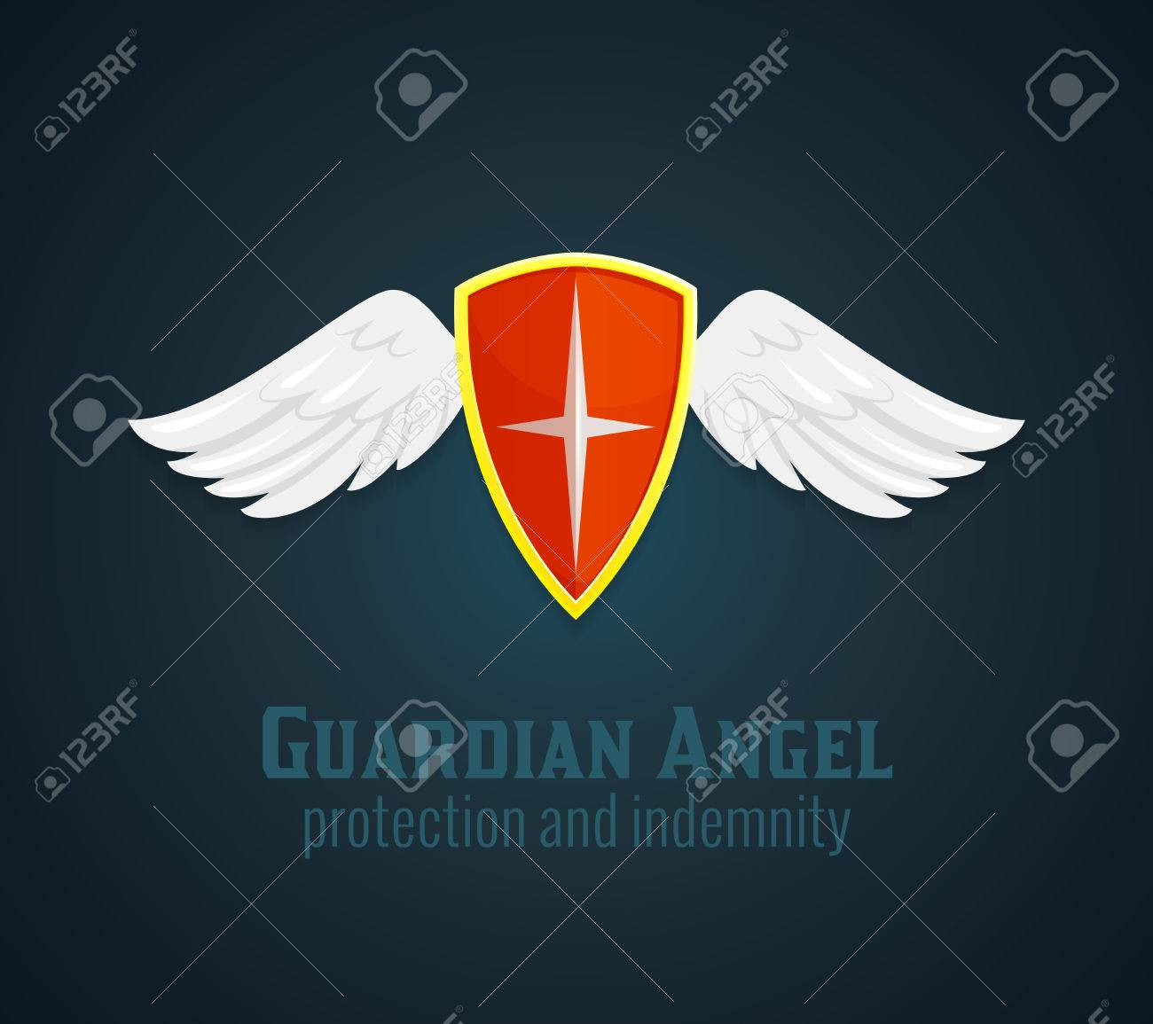 Antique Medieval Shield And Wings Icon With Guardian Angel