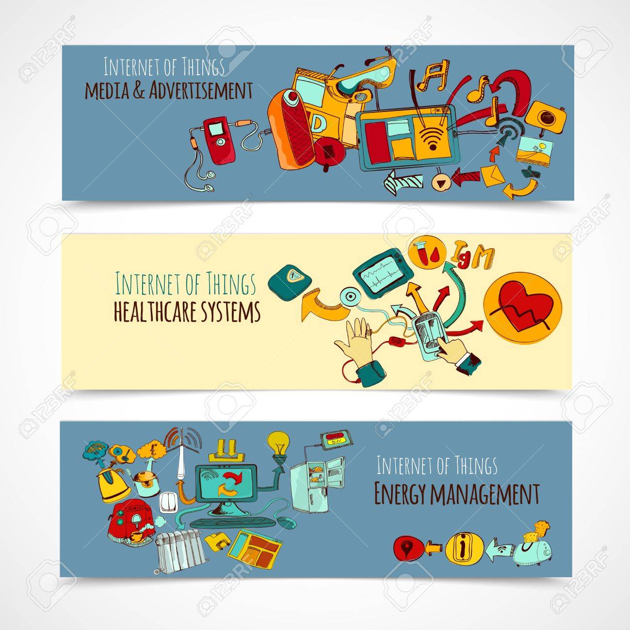 Internet Of Things Horizontal Banners Set With Media Advertisement Healthcare Systems Energy Management Sketch Elements Isolated