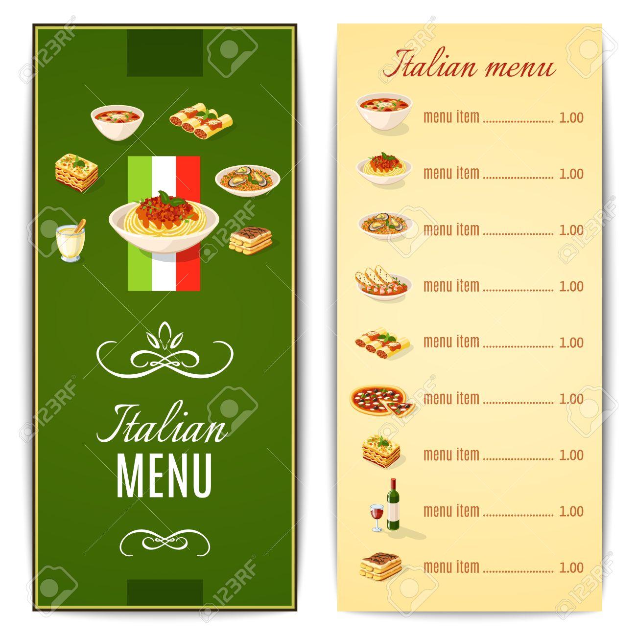 italian restaurant menu template with traditional food cuisine
