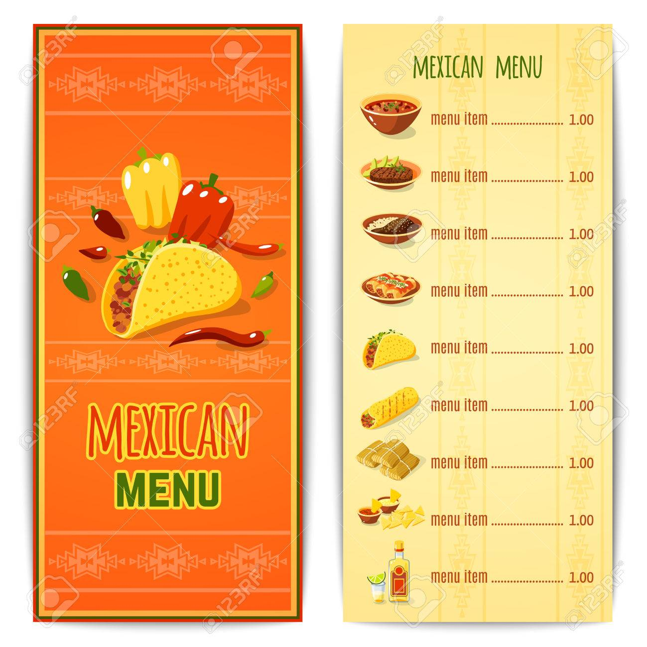 mexican restaurant menu template with traditional spicy food