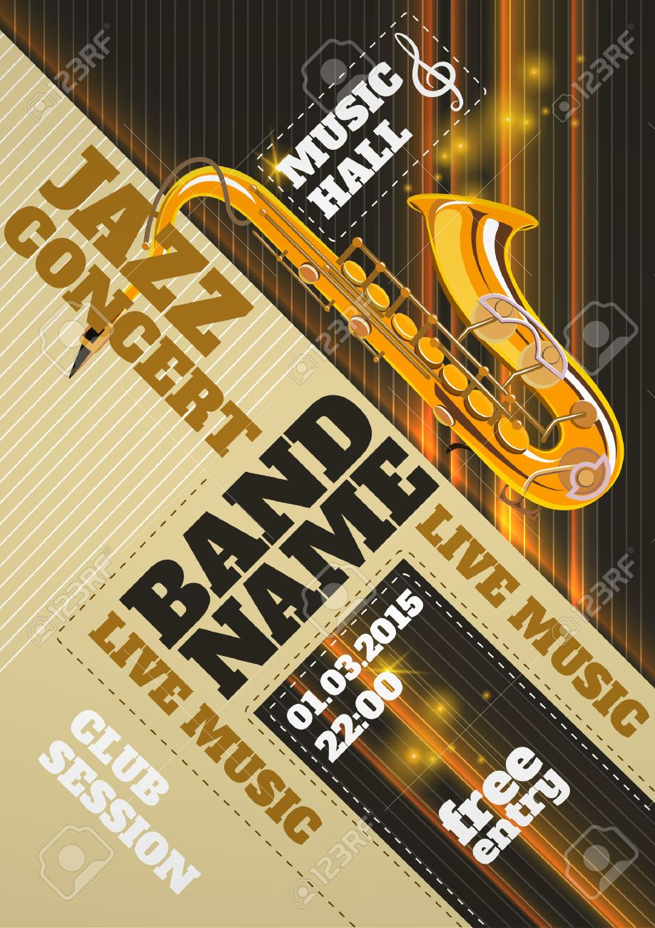 Jazz Music Concert Club Invitation Poster With Saxophone Vector