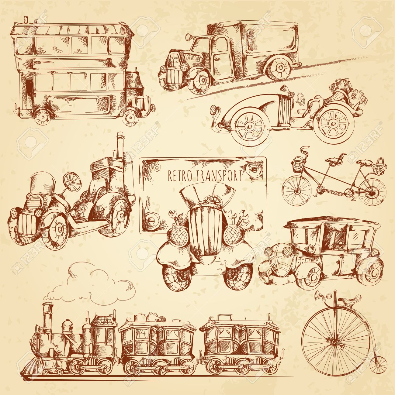 Vintage Transport Steampunk Vehicles Sketch Decorative Icons Set Isolated Vector Illustration Royalty Free Cliparts Vetores E Ilustracoes Stock Image 38305543