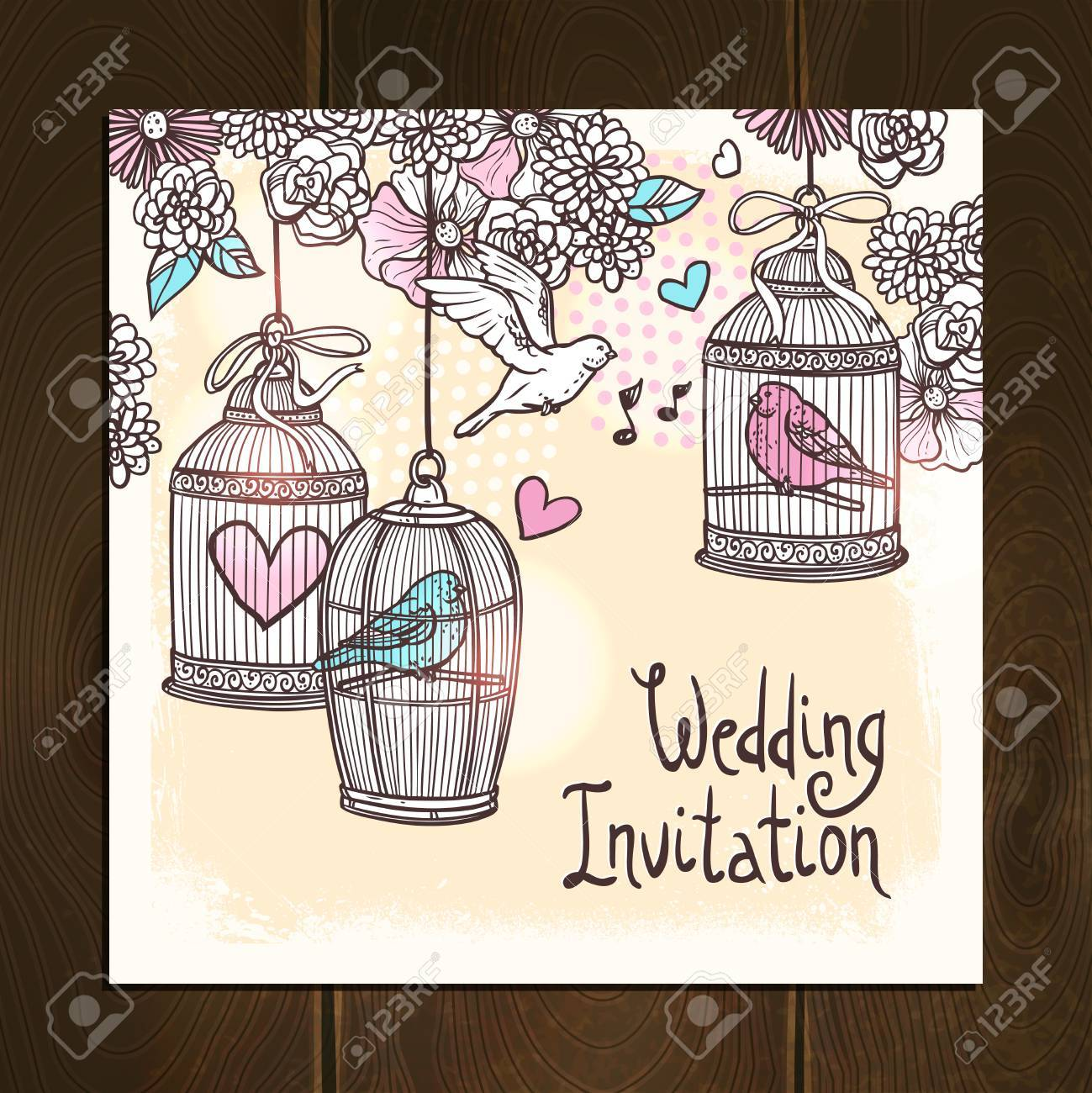 Wedding Invitation Card With Hand Drawn Birds In Cages With Flower ...