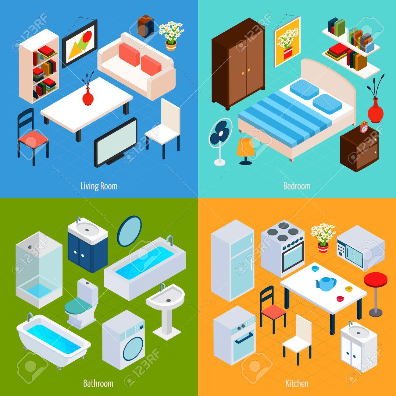 Living Room Bedroom Bathroom Kitchen. Isometric Interior Design Concept Set With Living Room Bedroom Bathroom And Kitchen 3d Icons Isolated Vector