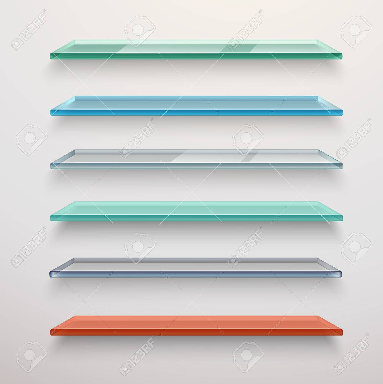 Realistic Colored Transparent Glass Wall Shelves Set Isolated ...