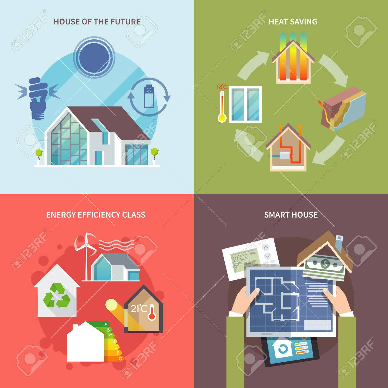 Energy Saving House Design Concept Set Flat Icons Isolated Vector  Illustration Stock Vector   38994782