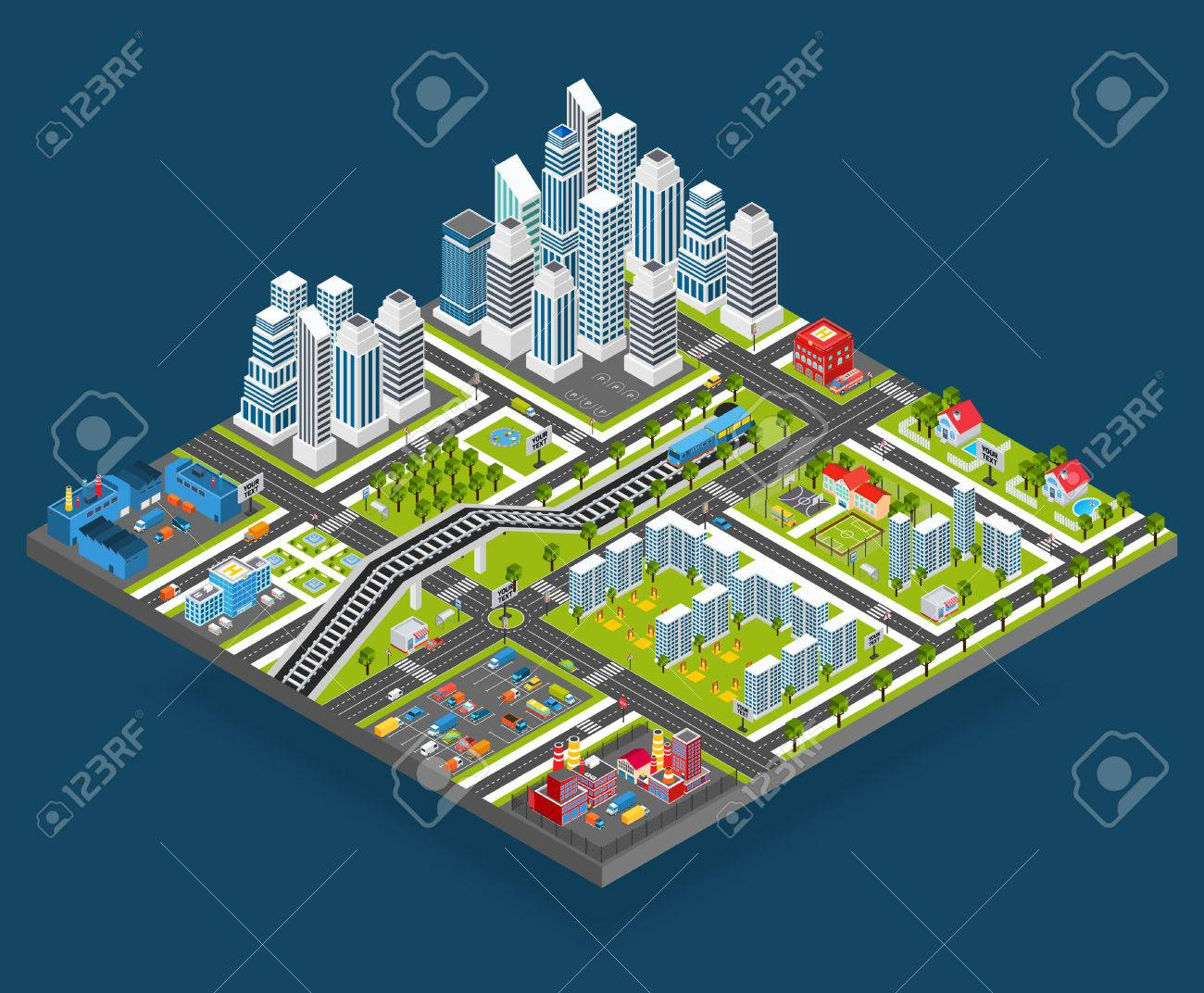 Manufacture Isometric And City Blocks Office Vector Illustration Building Store Houses 3d With