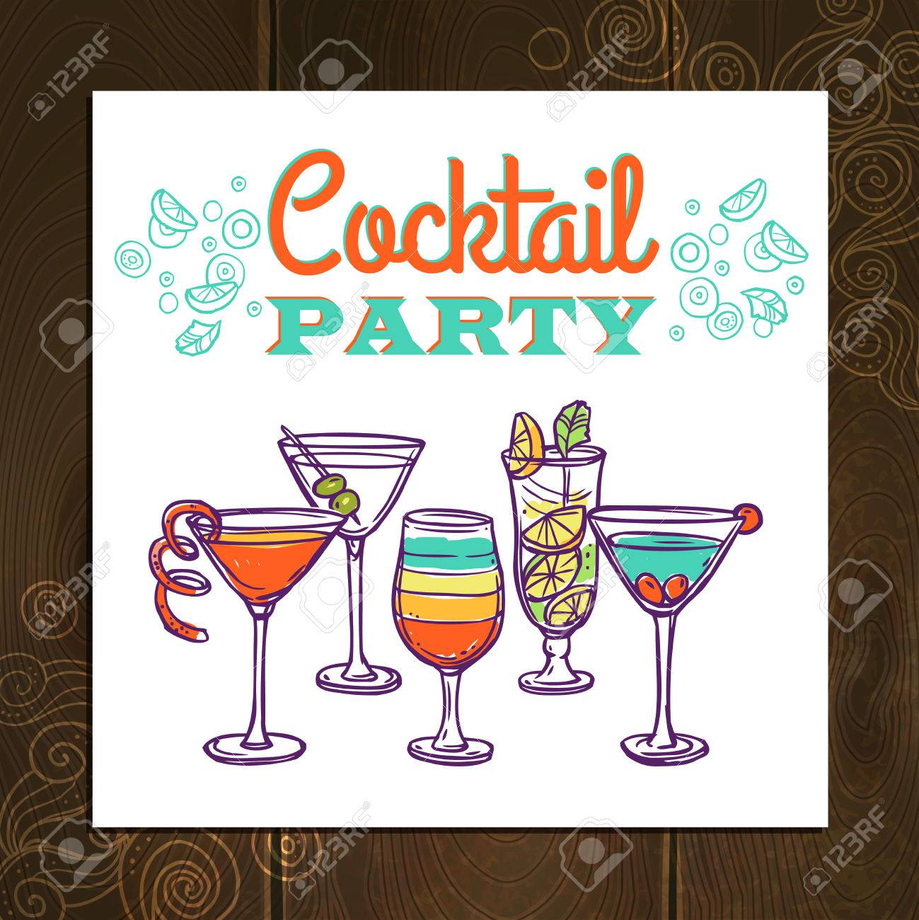 cocktail party invitation poster with hand drawn alcohol drinks