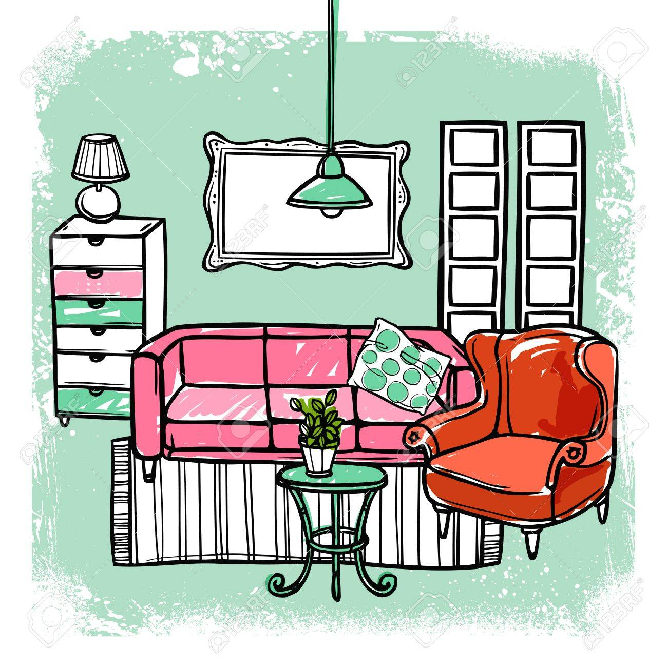 Living Room Furniture Templates living room interior design template with sketch furniture vector