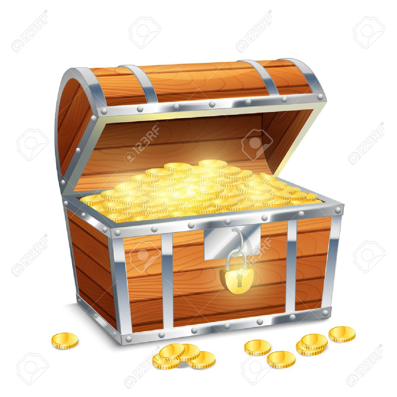 Image Coffre Pirate réaliste vieux coffre pirate de style au trésor avec des pièces d'or