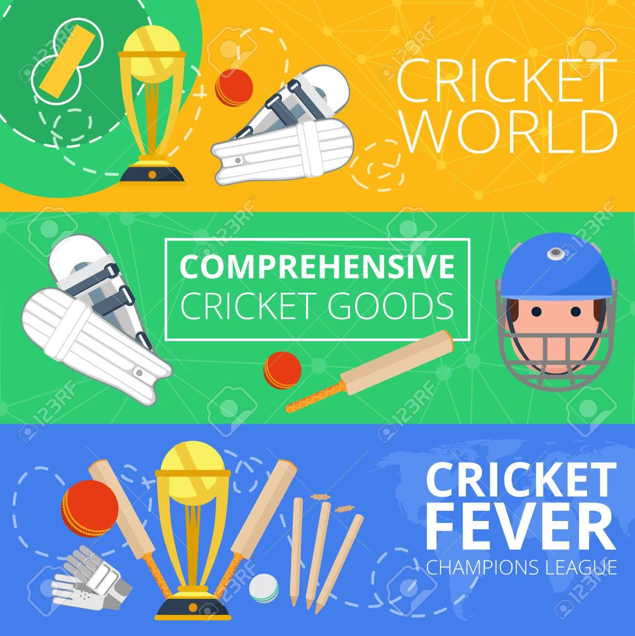 Champions League Cricket World Goods Symbols Flat Banners Set