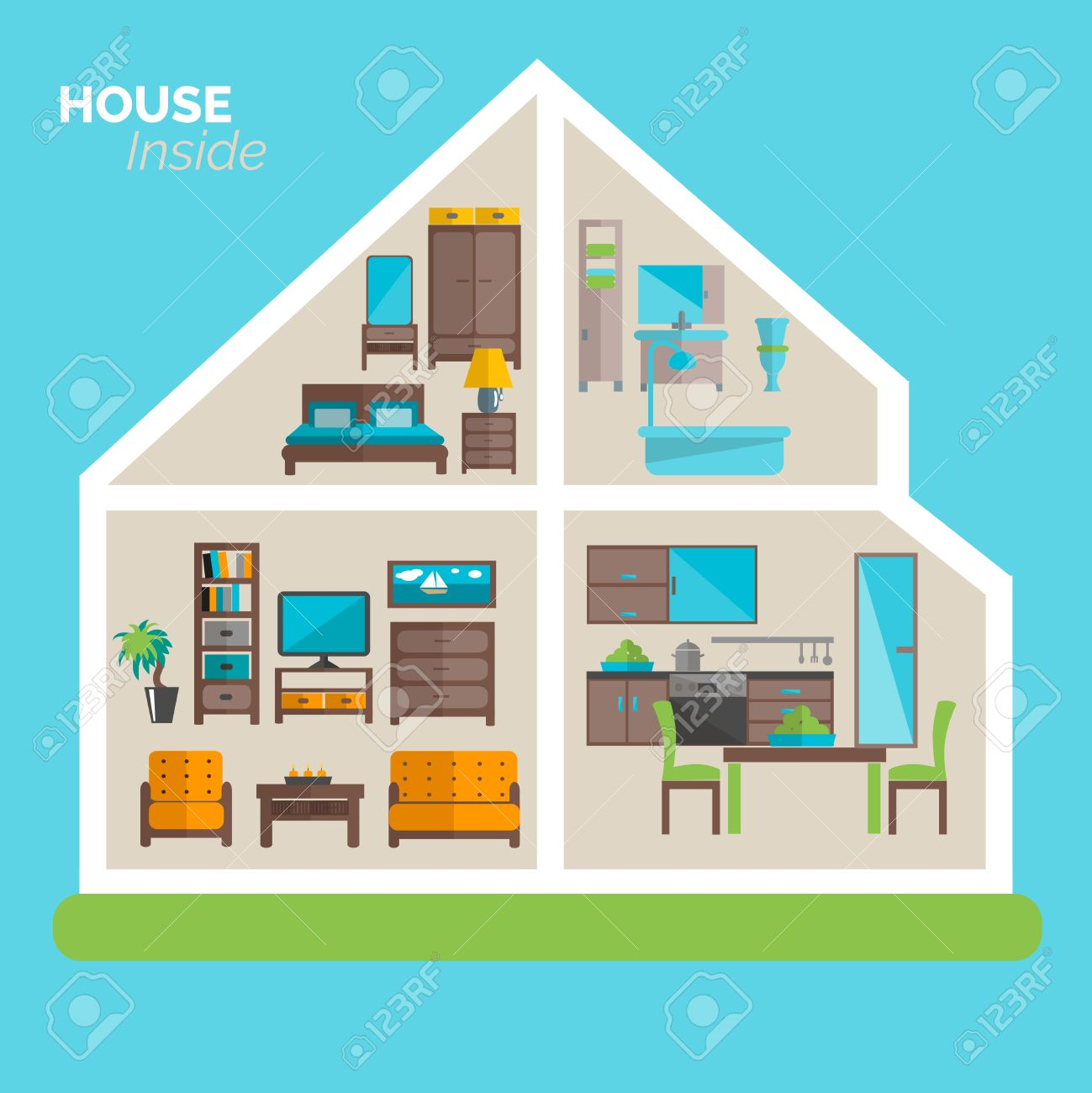Delightful House Inside Interior Design Ideas Poster For Sleeping Sitting Rooms And  Kitchen Furniture Flat Abstract Vector