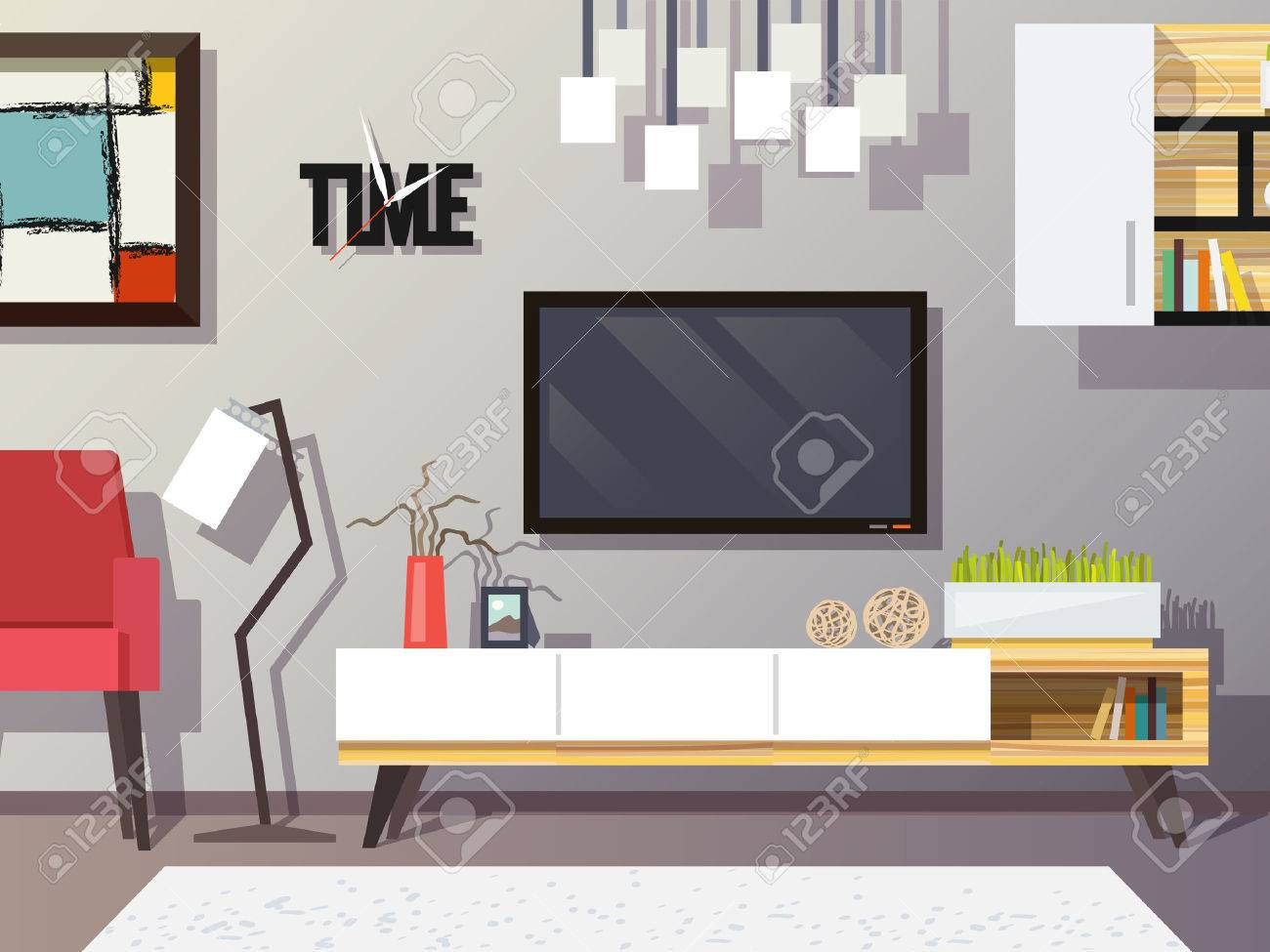 living room interior concept with modern furniture set flat vector  - living room interior concept with modern furniture set flat vectorillustration stock vector