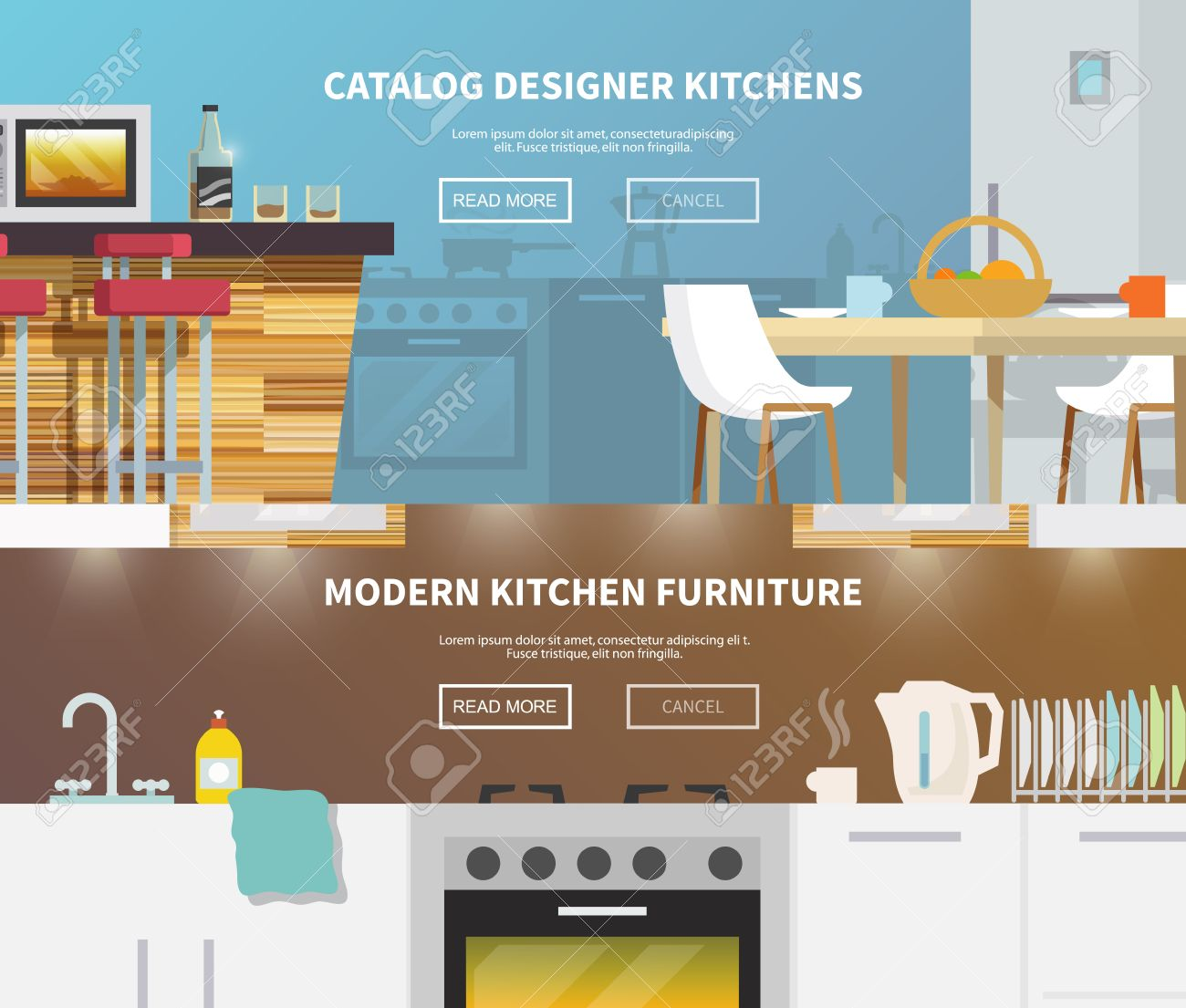 Kitchen Furniture Horizontal Banner Set With Flat Design Elements