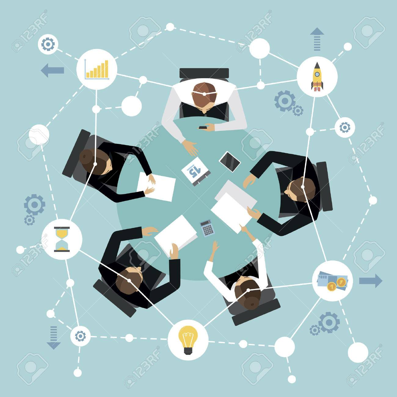 Round table meeting icon - Business Management Meeting And Brainstorming Concept With People On The Round Table In Top View Vector