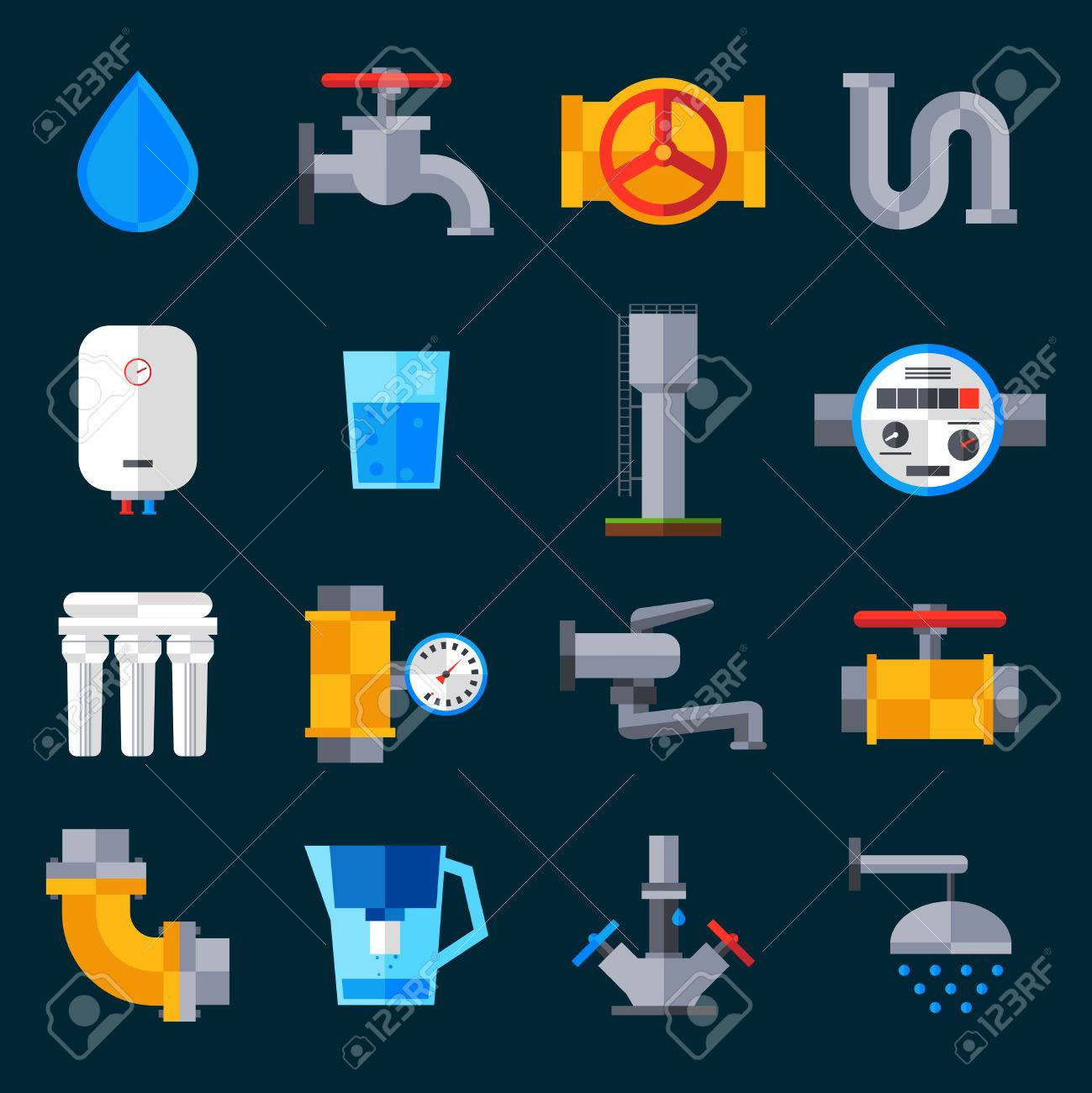 Water Supply Icons Set With Bathroom Sink And Shower Equipment ...