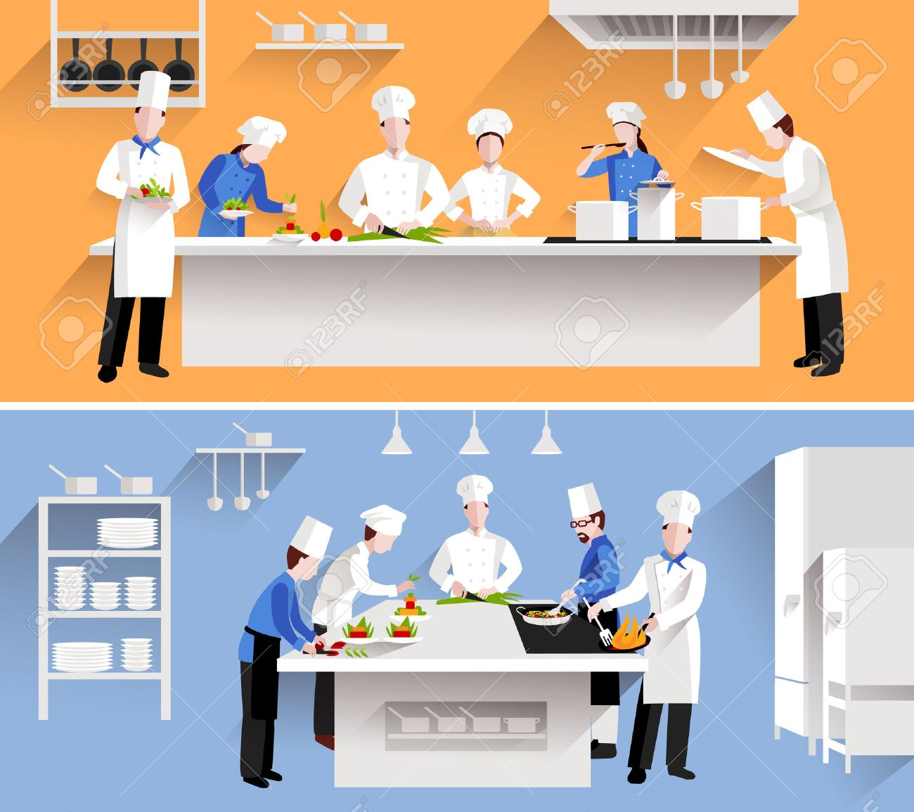 Restaurant Kitchen Illustration cooking process with chef figures at the table in restaurant