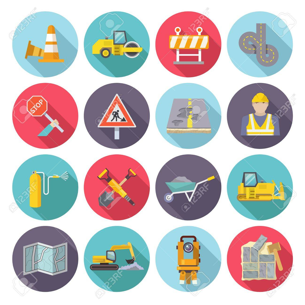 road worker flat icons set with street repairing tools and warning signs isolated vector illustration stock