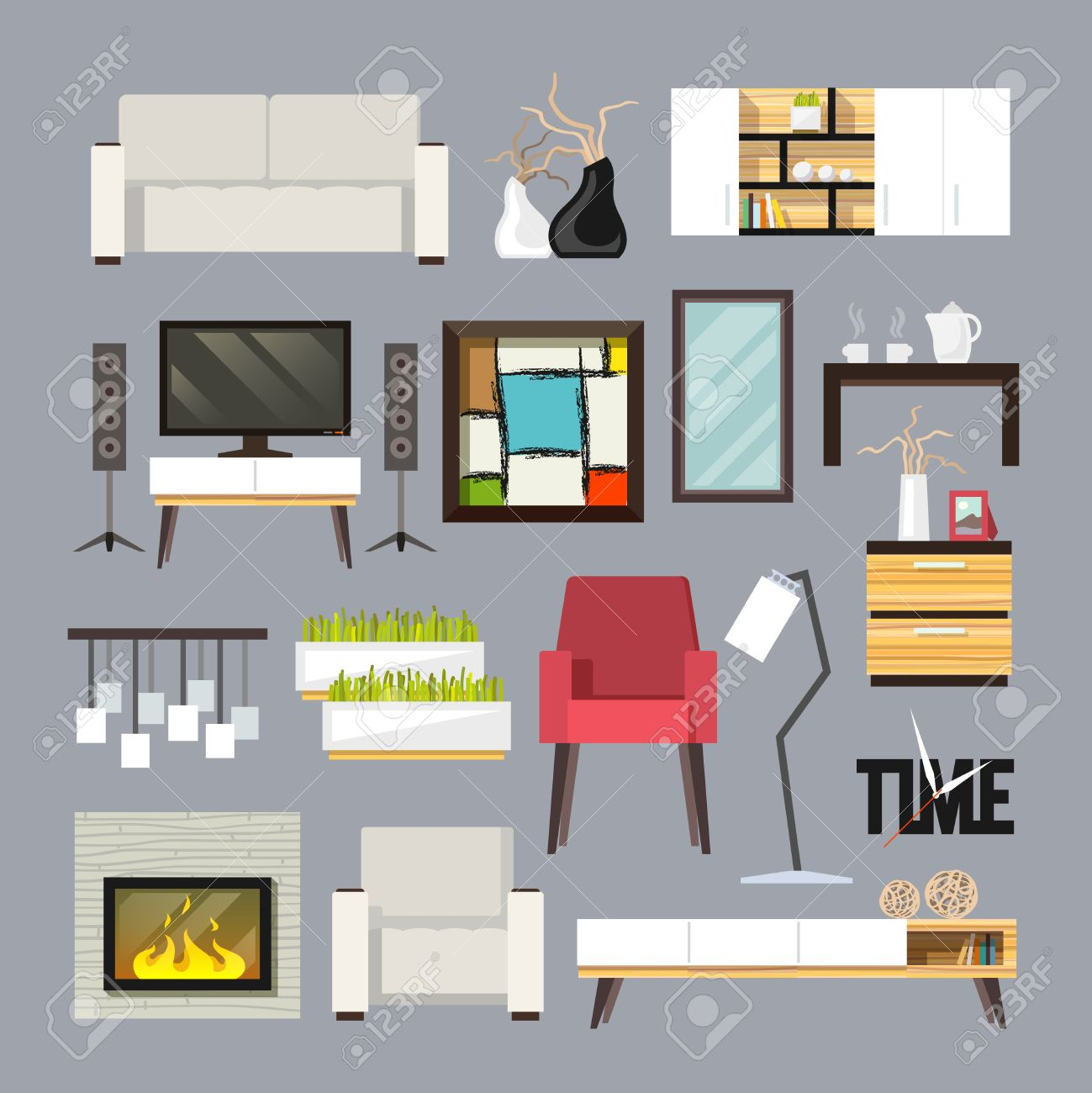 Living room furniture decorative icons set with sofa bookshelf tv table isolated vector illustration Stock Vector