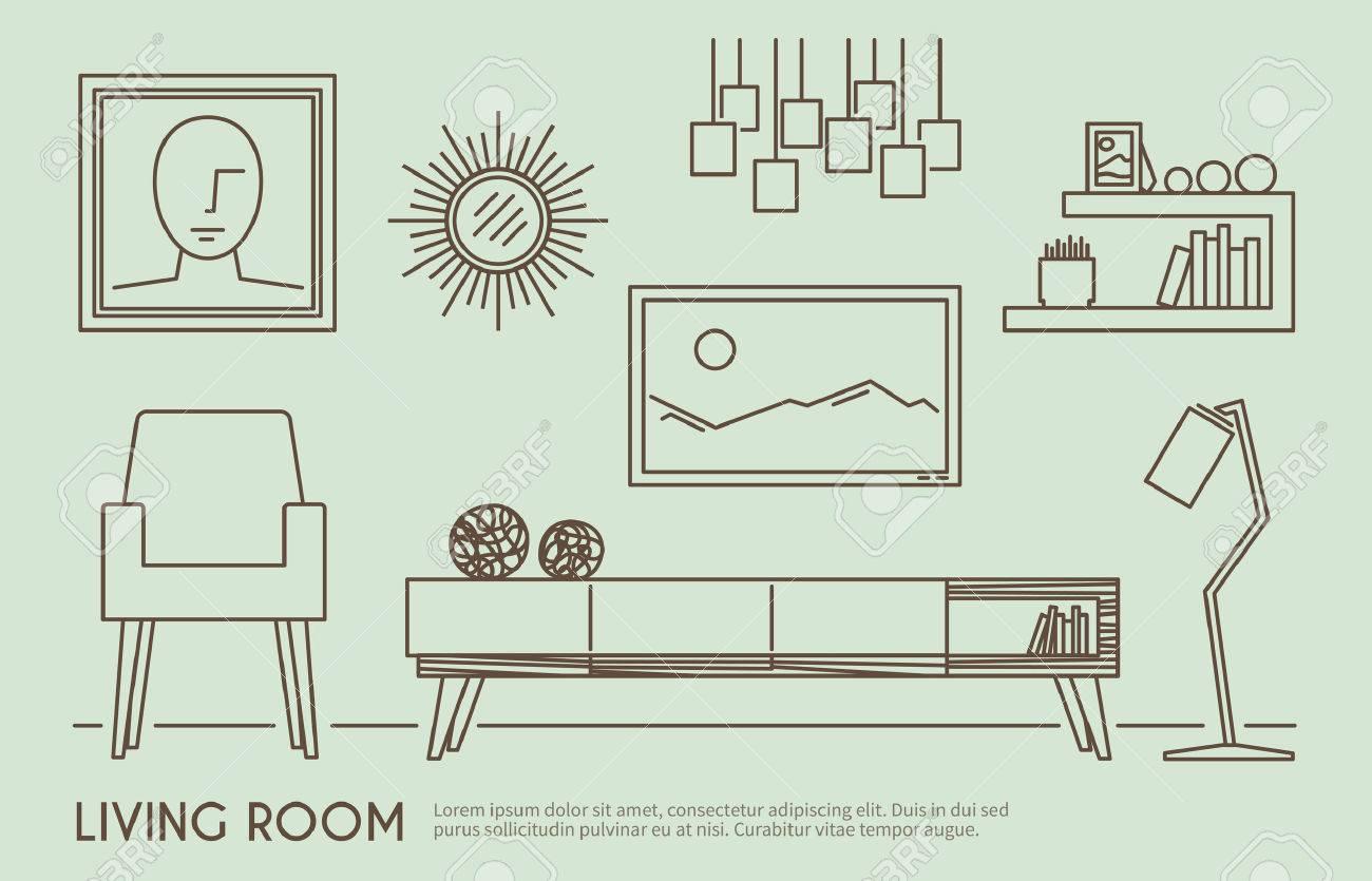 Living Room Interior Design With Outline Furniture Set Vector Illustration Stock