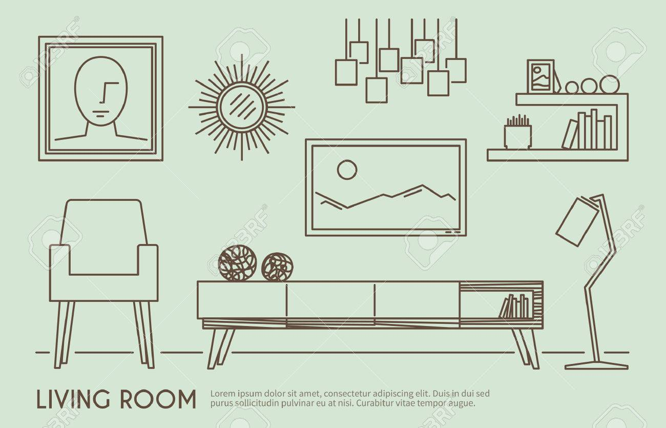 Living Room Interior Design With Outline Furniture Set Vector Illustration  Stock Vector   39264322