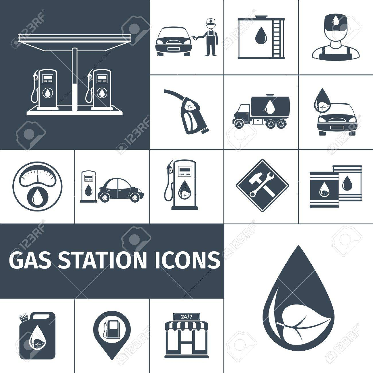 Gas Station Icons Black Set With Petrol Station Fuel Tank Isolated