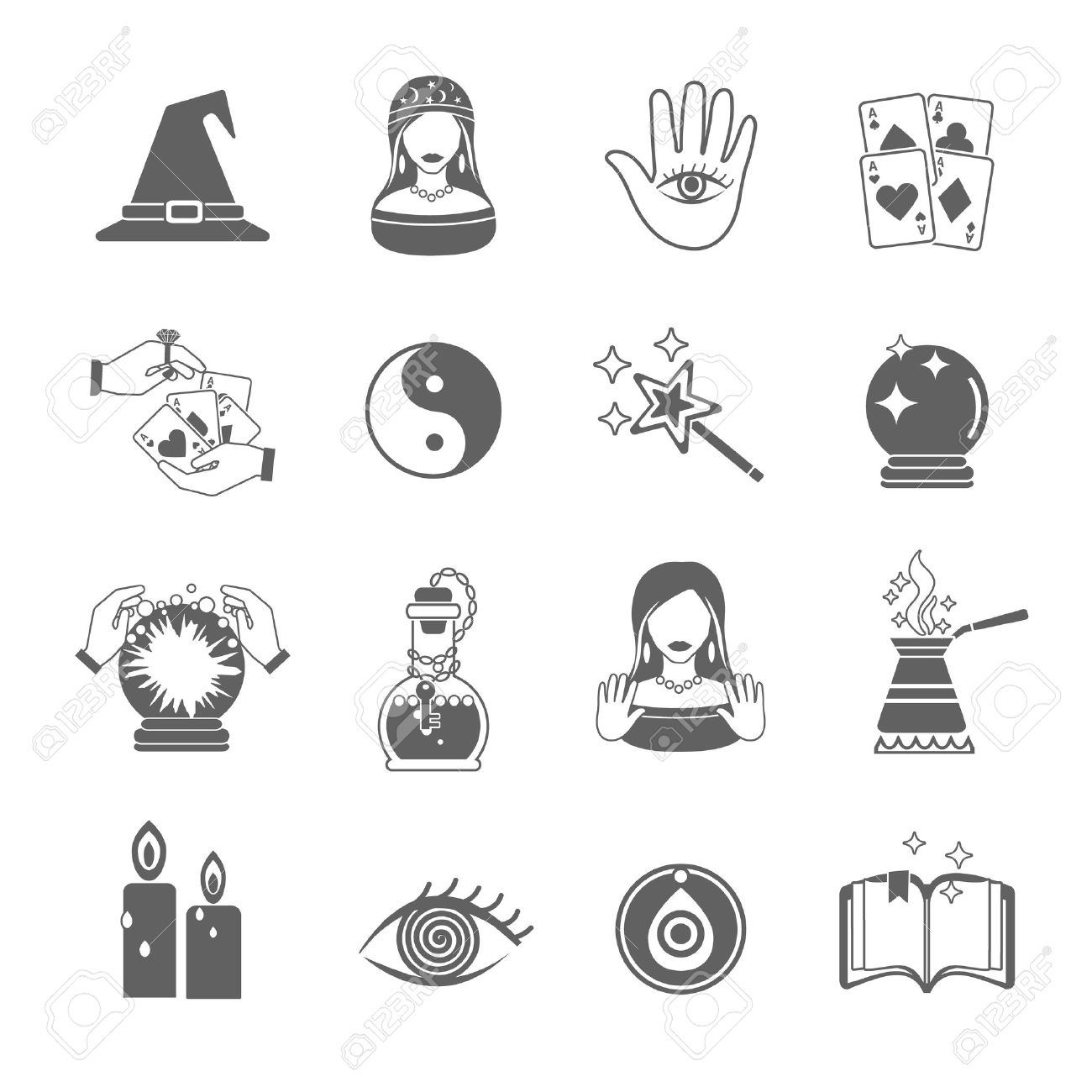 Fortune and future teller black icon set with magic symbols fortune and future teller black icon set with magic symbols isolated vector illustration stock vector buycottarizona