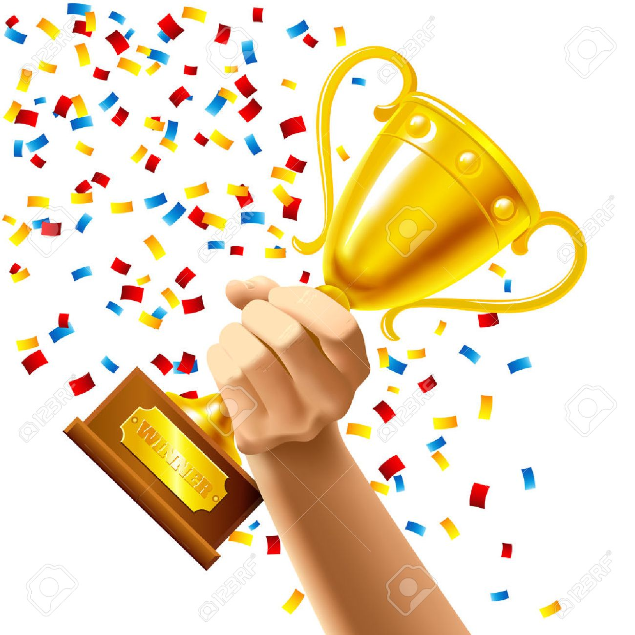 Hand holding a winner trophy cup in multi colored confetti concept vector illustration - 39266640