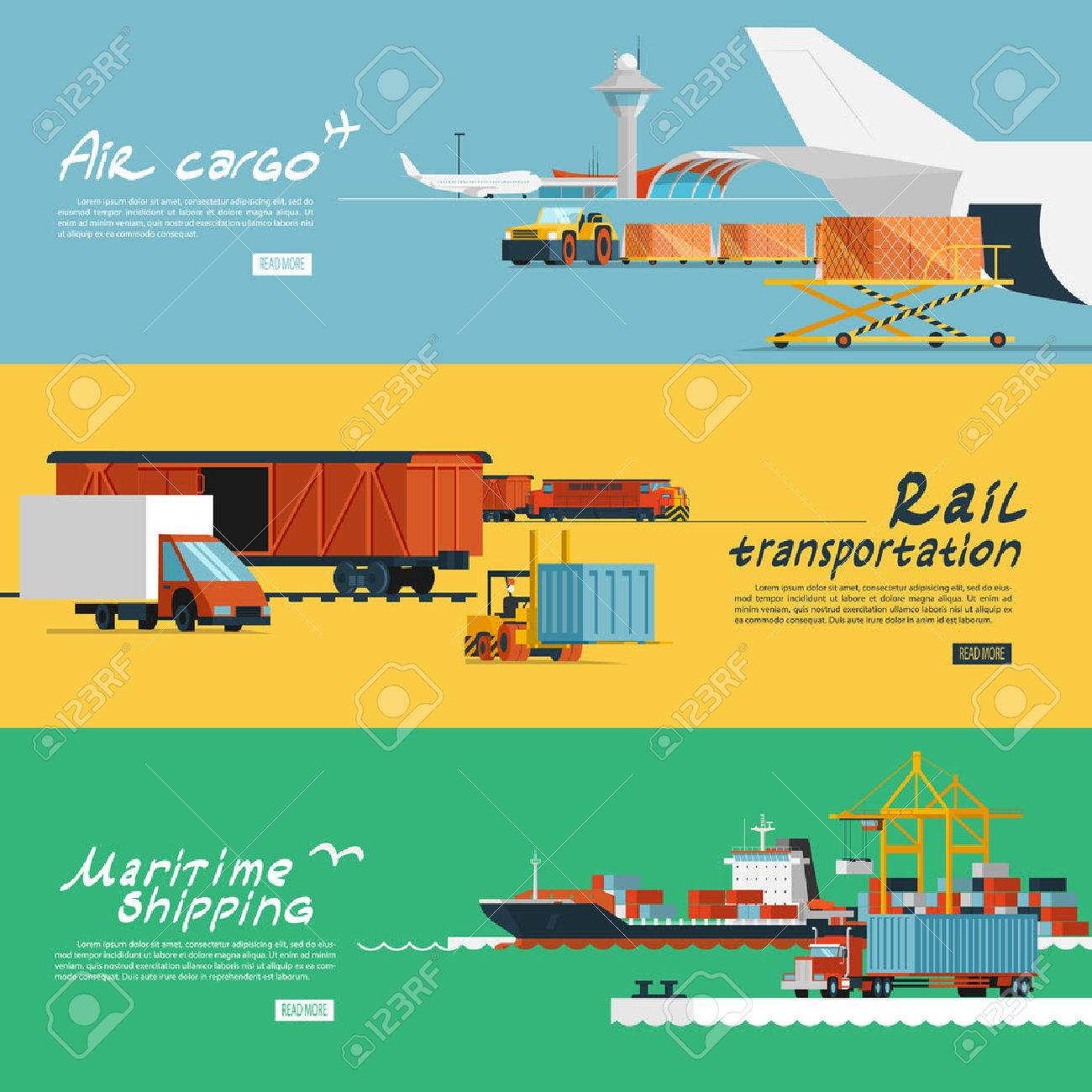 Logistic concept flat banners set of maritime rail and air transport delivery services abstract isolated vector illustration Stock Vector - 39267280