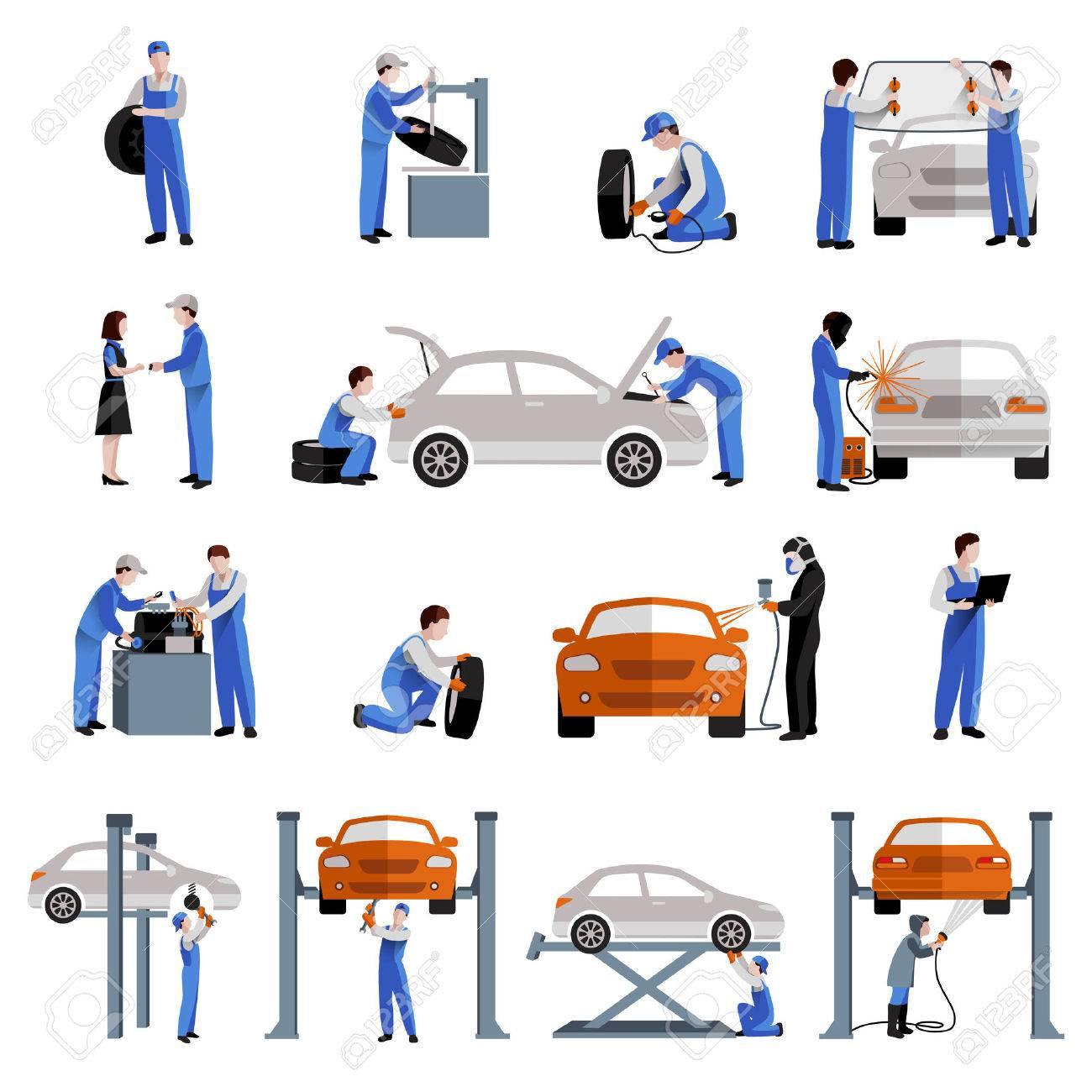 Auto mechanic car service repair and maintenance work icons set