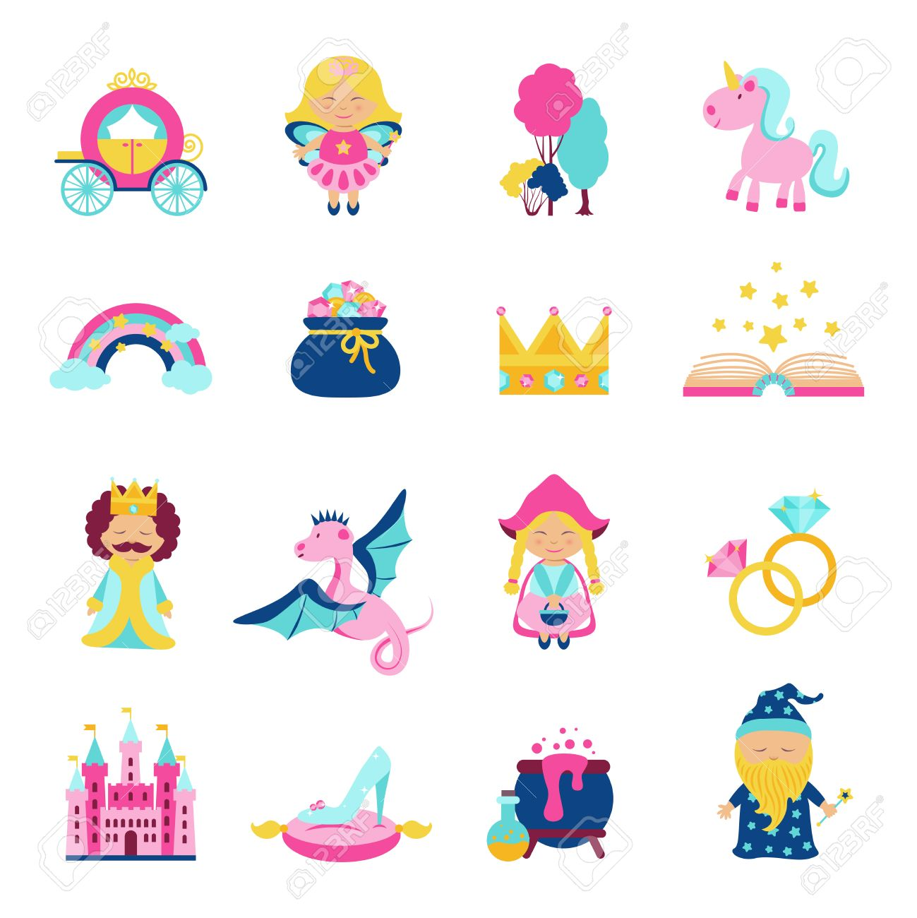 Fairy Tale Characters And Symbols Set With Magic Book Wand Dragon ...