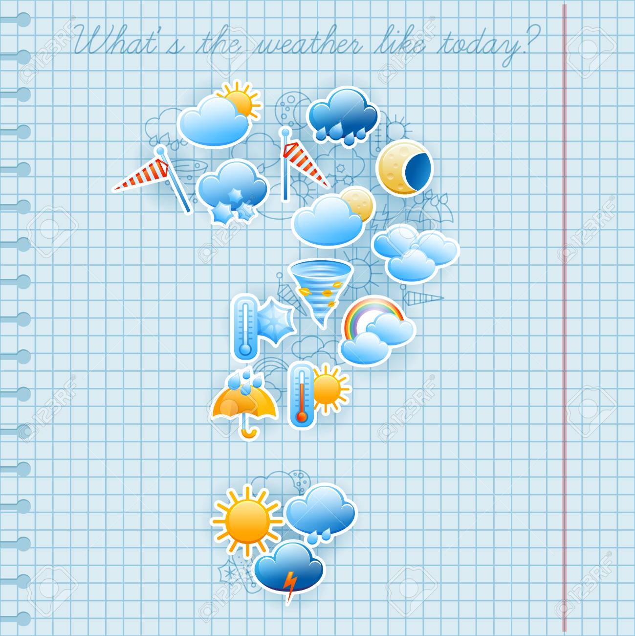 College Squared Notebook Page Day Weather Forecast Symbols Labels