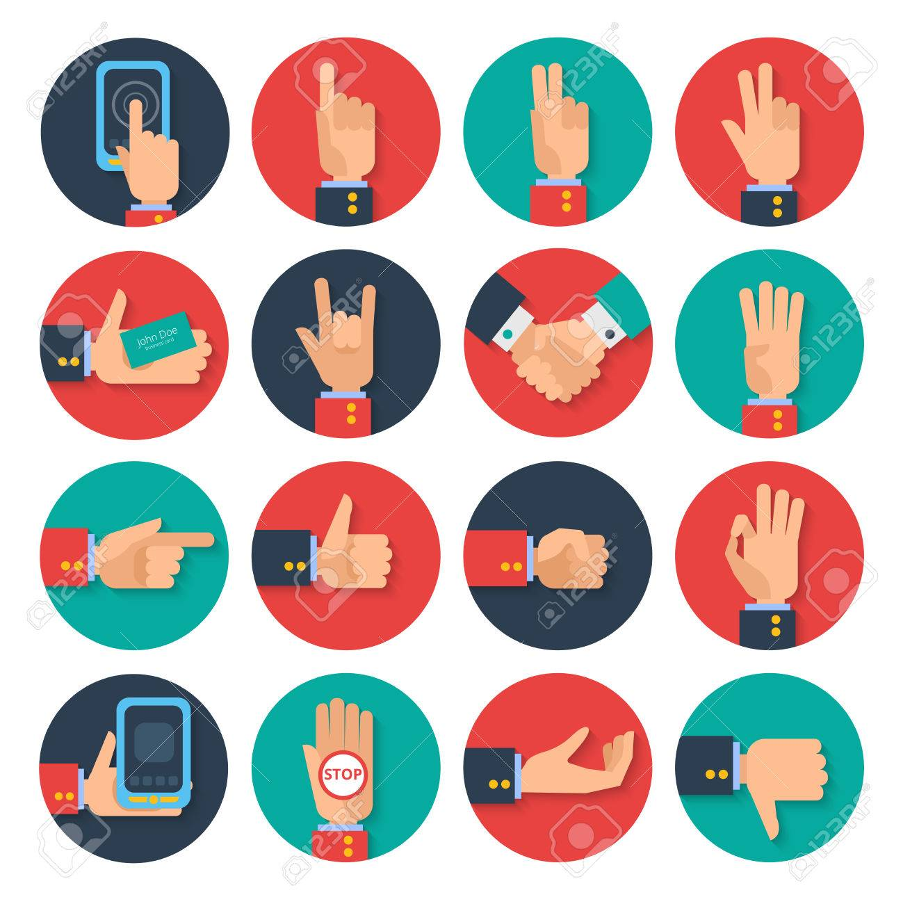 Body Language Hand Gestures Icons Tablet Apps Set For Business ...