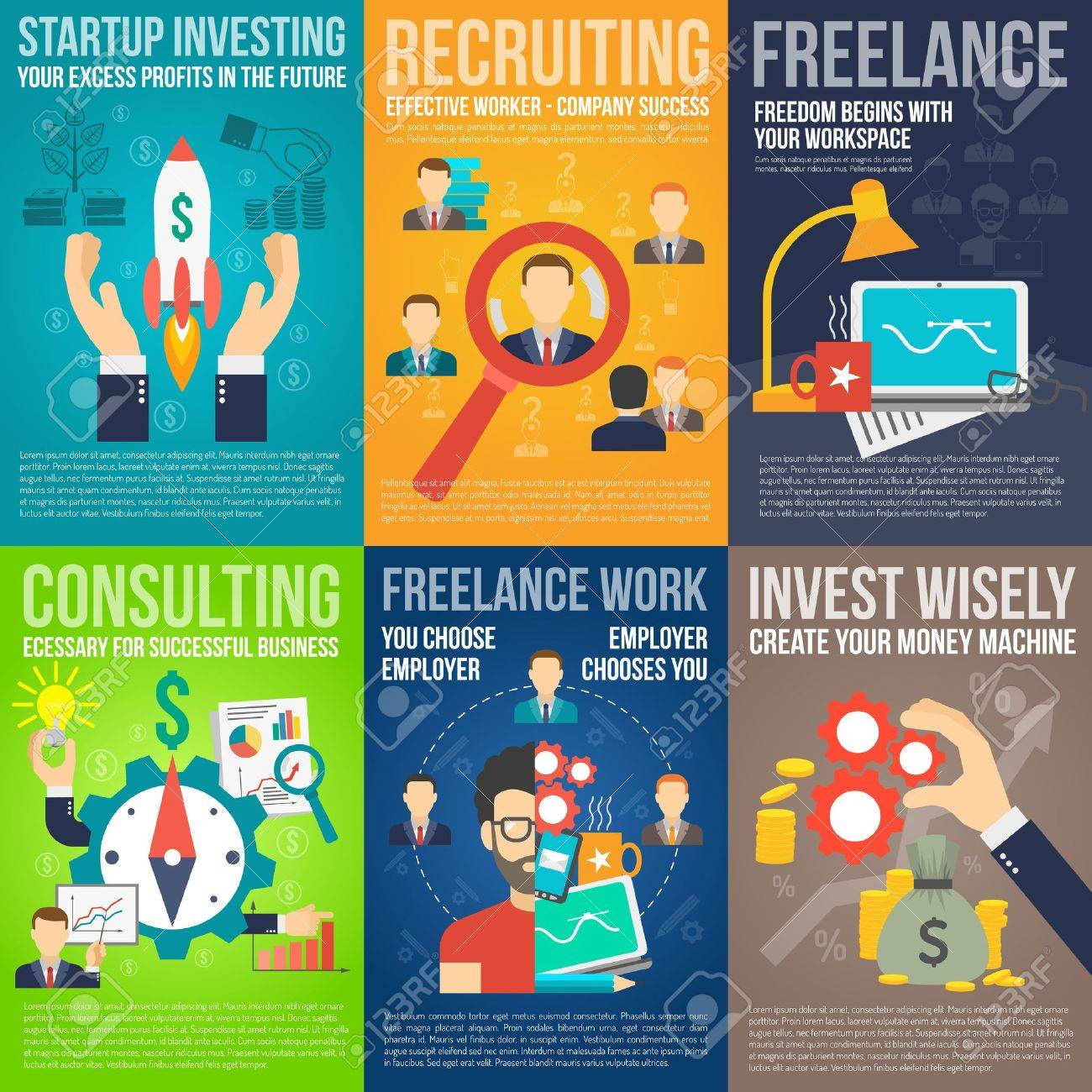 Poster design freelance - Business Mini Poster Set With Startup Investing Recruiting Freelance Work Promo Isolated Vector Illustration Stock Vector