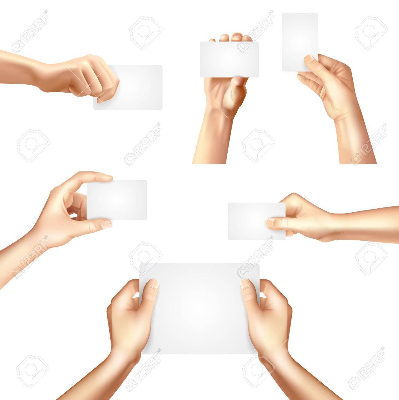 Hände, Die Weiße Leere Vorlagen Für Business Identifikationskarten ...