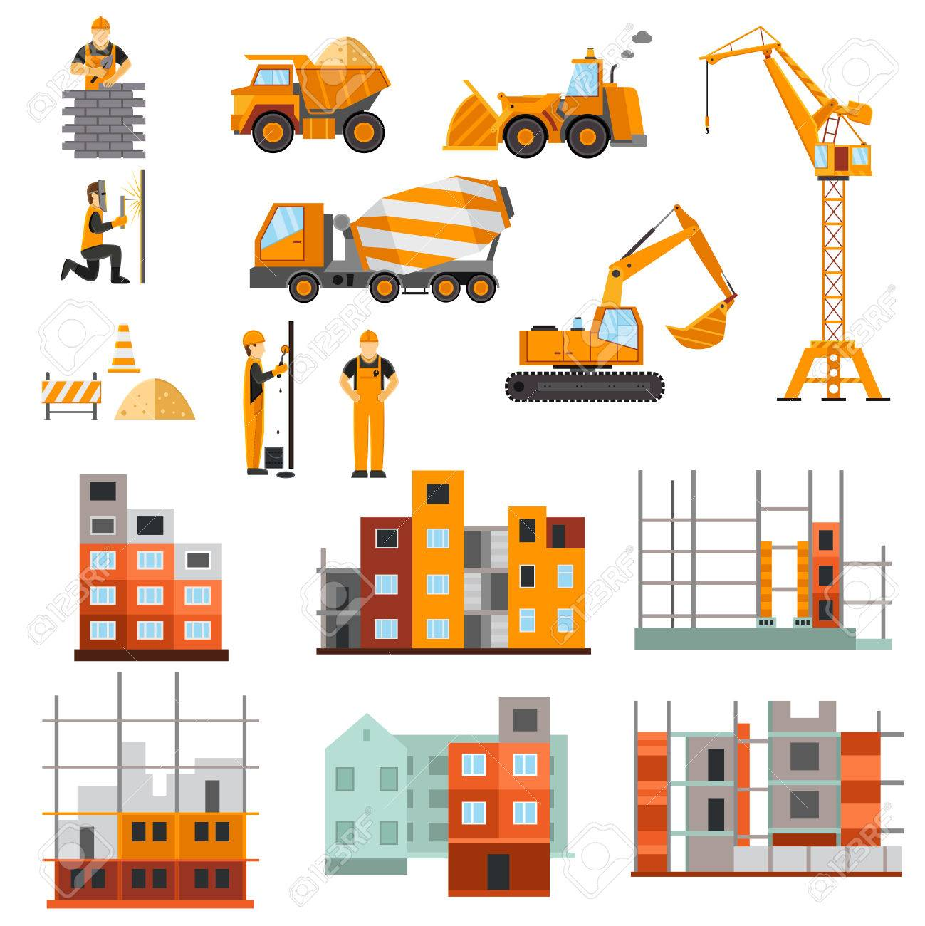 Construction Machines Builders And House Building Process ...