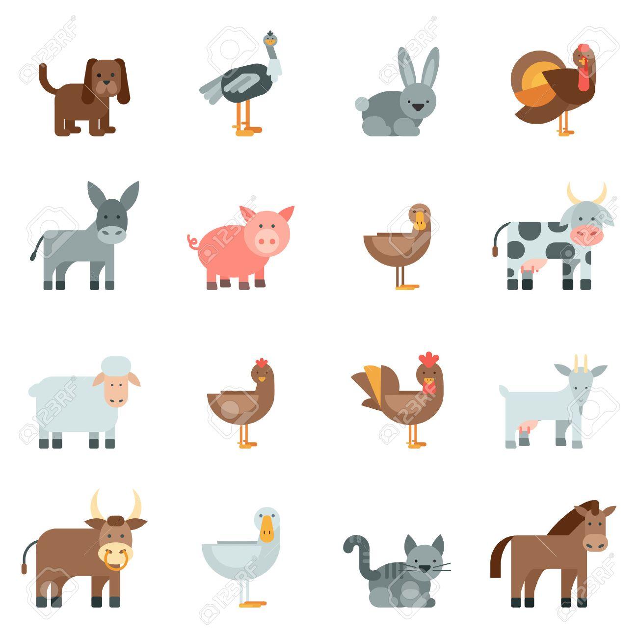 Domestic animal flat icons set with dog rabbit donkey isolated vector illustration Stock Vector - 40459082