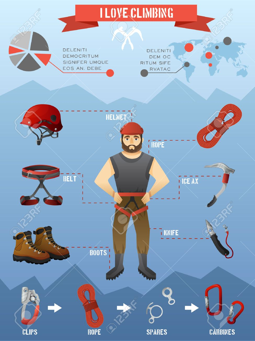 Rock climbing equipment gear and supply for alpinist infographic poster  with mountains peaks background abstract vector