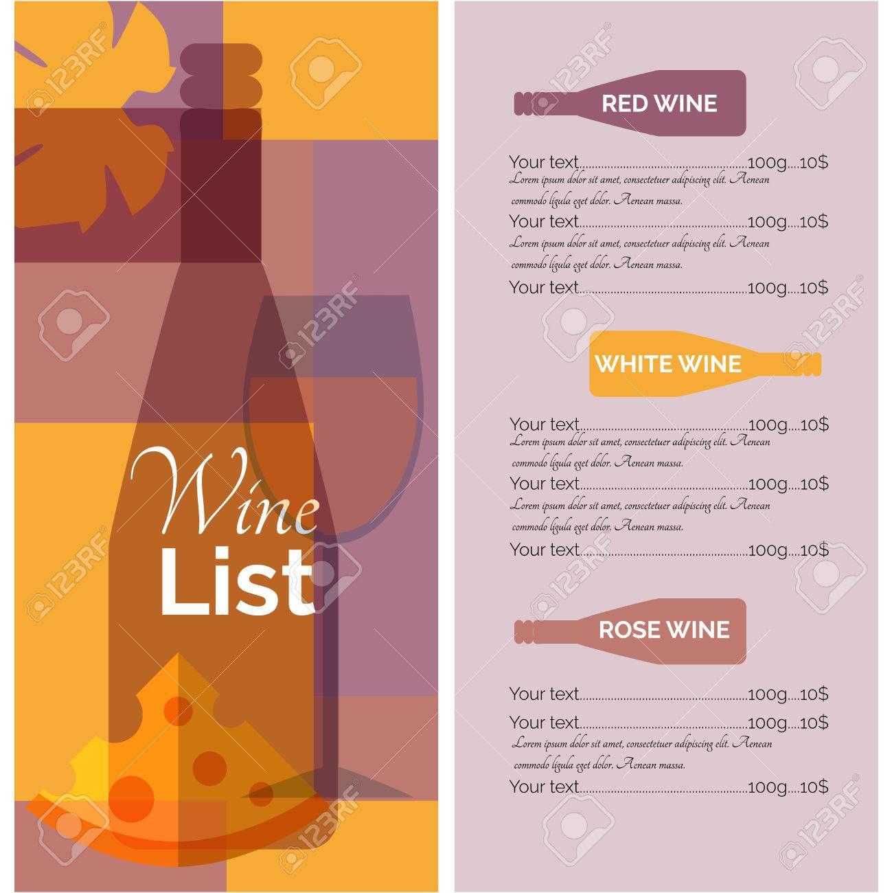 Restaurant Bar-Menü-Karte Schablone Für Den Roten Weißen Und ...