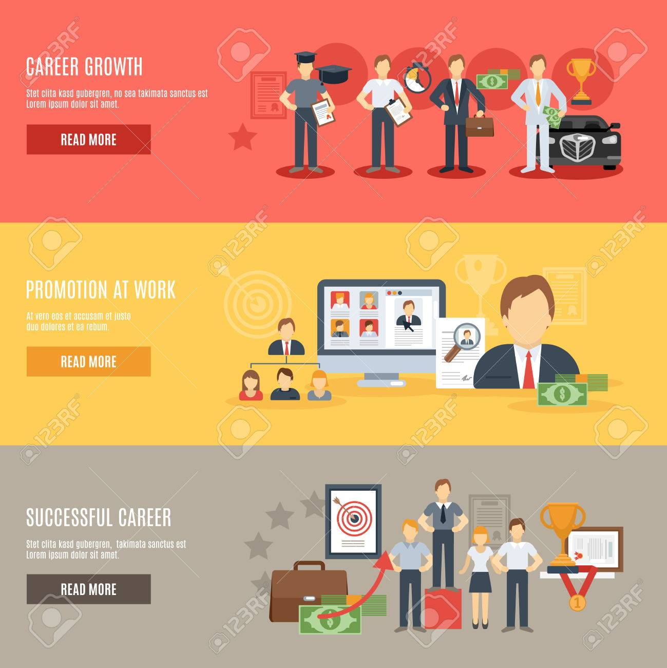 career growth horizontal banner set promotion at work flat career growth horizontal banner set promotion at work flat elements isolated vector illustration stock vector