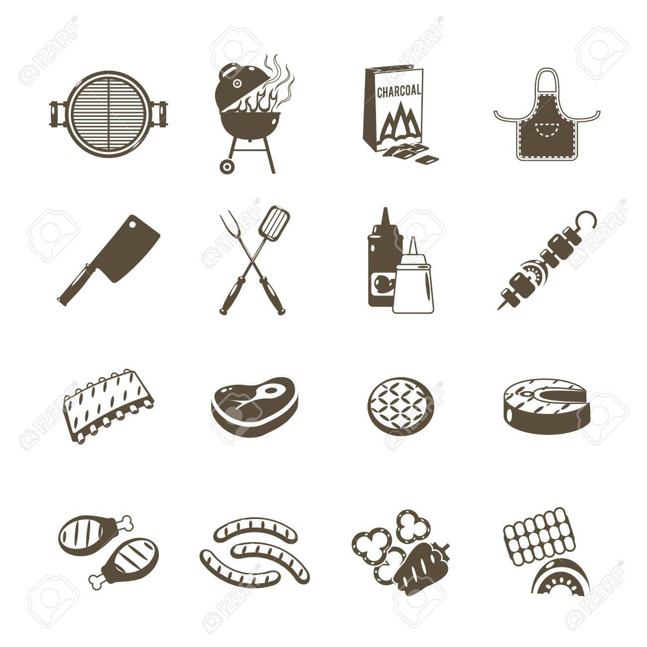 Barbecue grill and outdoor summer picnic utensil icons black set isolated vector illustration - 40459275