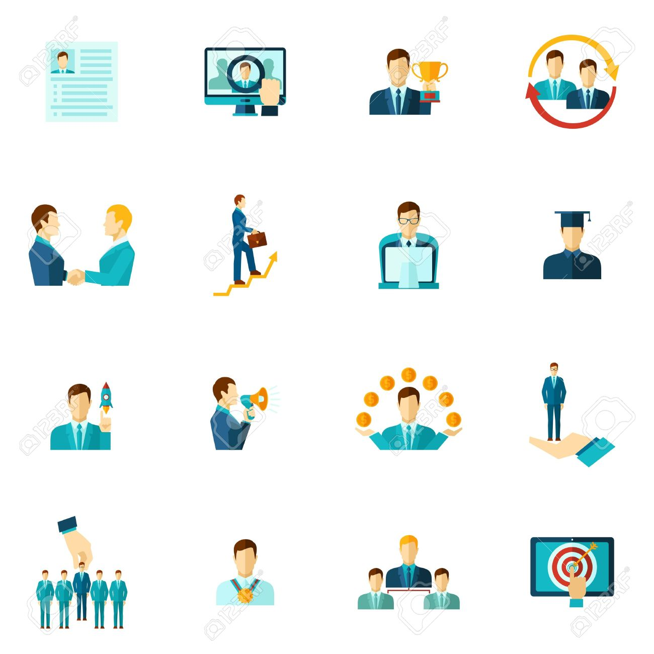 career building icon flat set with personnel achievement symbols isolated vector illustration stock vector 40505965