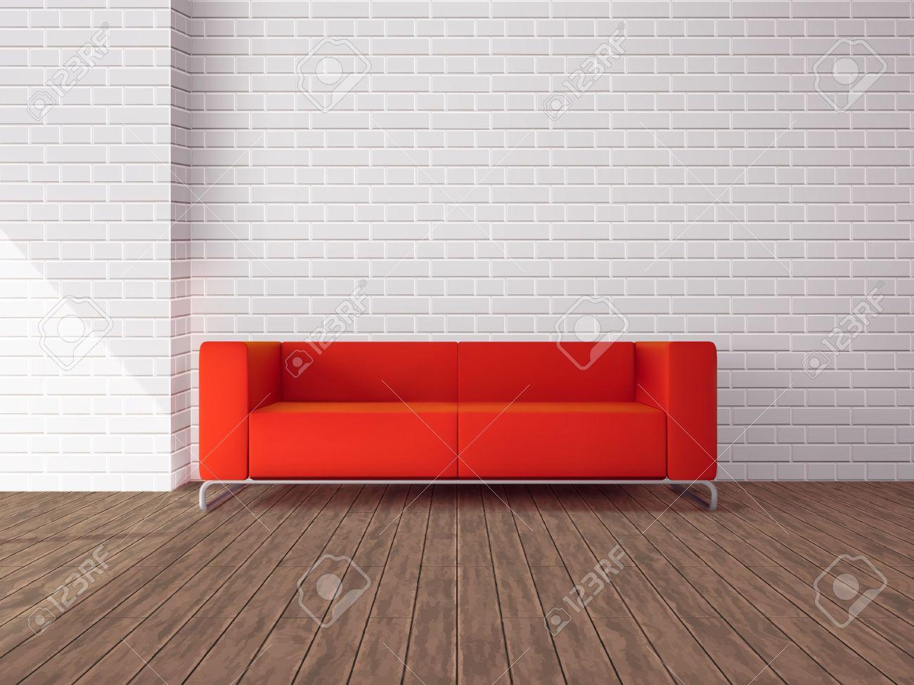 Canapé rouge réaliste dans la chambre avec plancher en bois et en ...