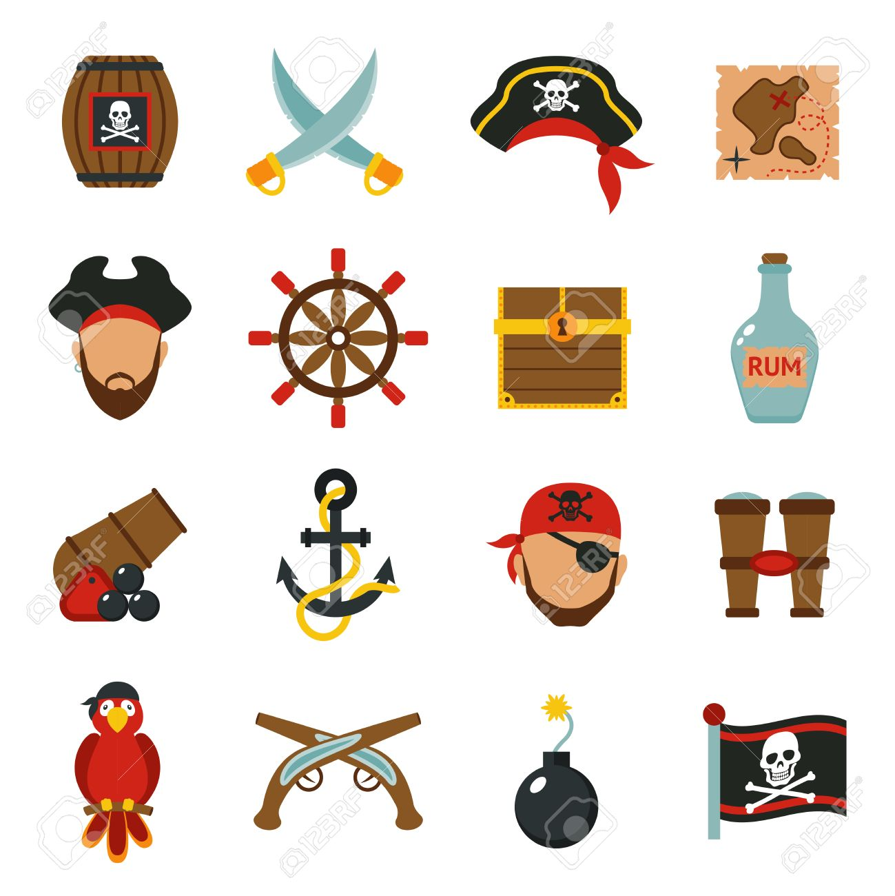 Pirate Accessories Symbols Flat Icons Collection With Wooden