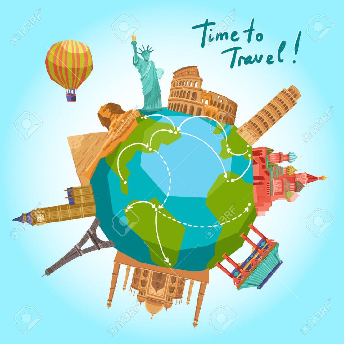 Travel background with world landmarks around the globe vector illustration - 40442750