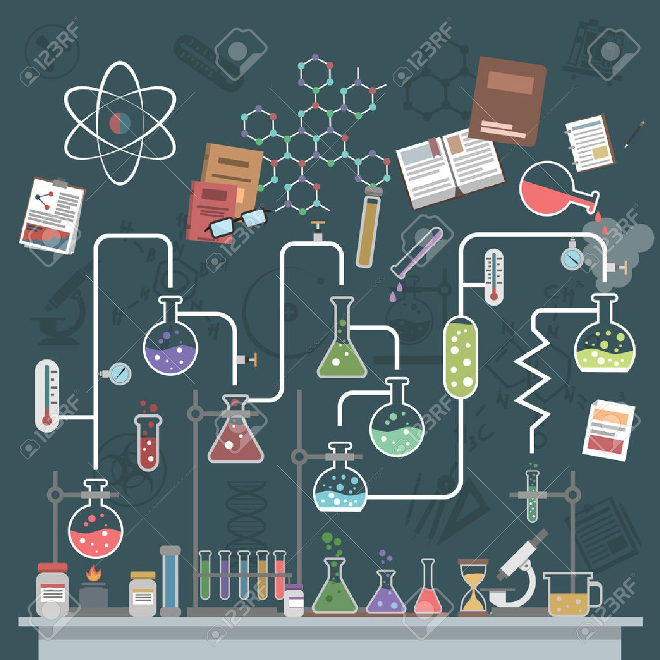 Science lab concept with flat flasks and physics symbols vector illustration - 41533886