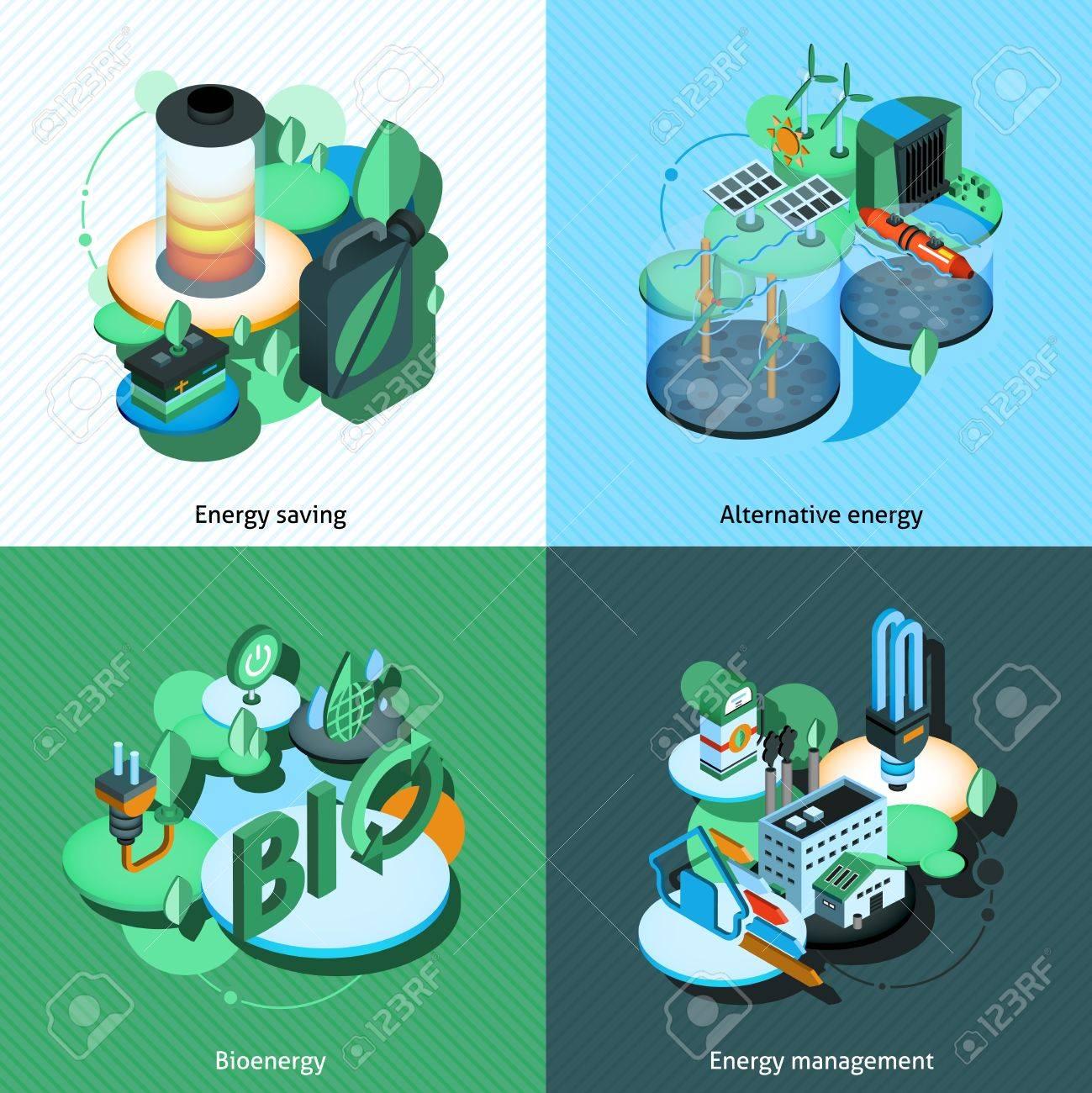 代替バイオ エネルギー管理等尺性のアイコン分離ベクトル イラスト入り
